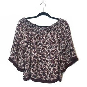 Lovestitch White and Red Floral Peasant Blouse